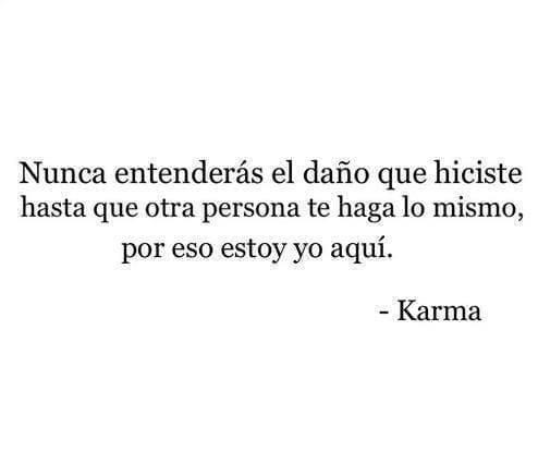 Nunca entenderás el daño que hiciste hasta que otra persona te haga lo mismo, por eso estoy yo aquí Karma