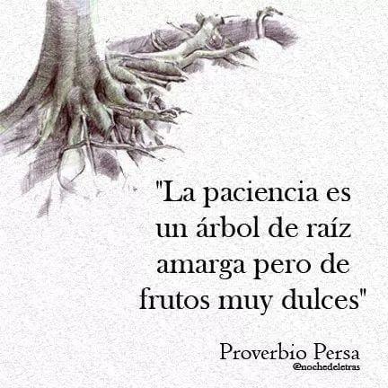 La paciencia es un árbol de raíz amarga pero de frutos muy dulces
