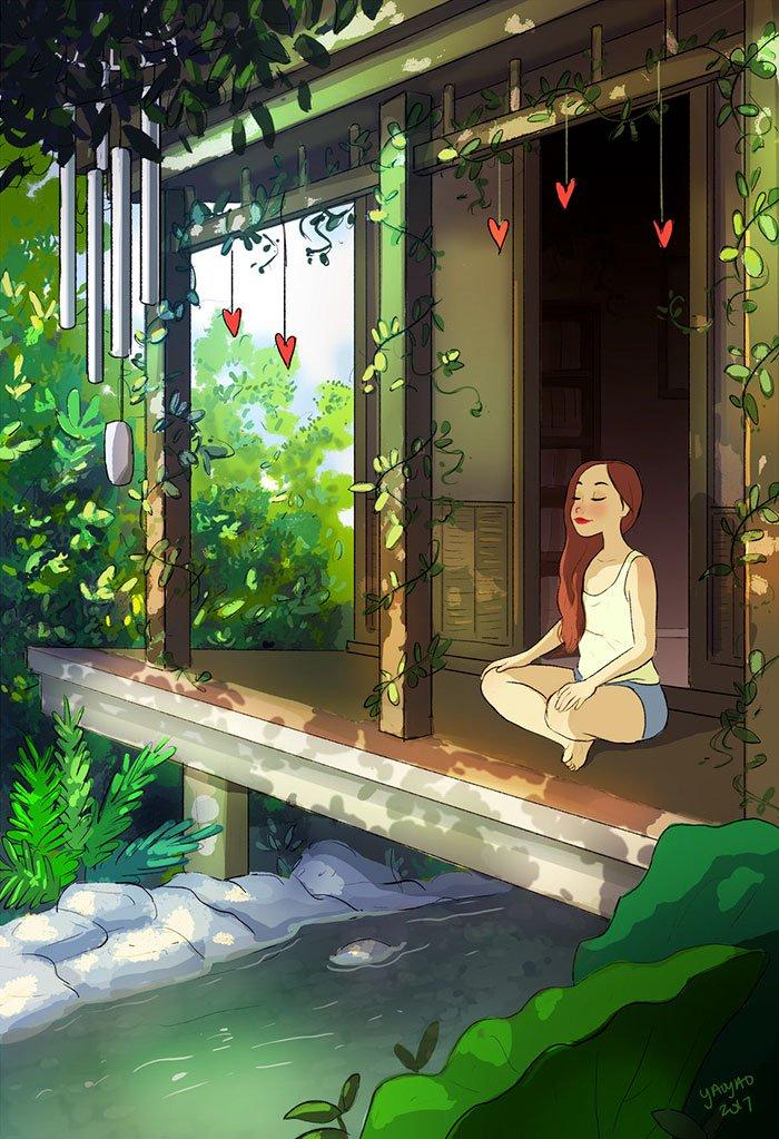 Yaoyao Ma Van As ilustraciones felicidad vivir sola 19