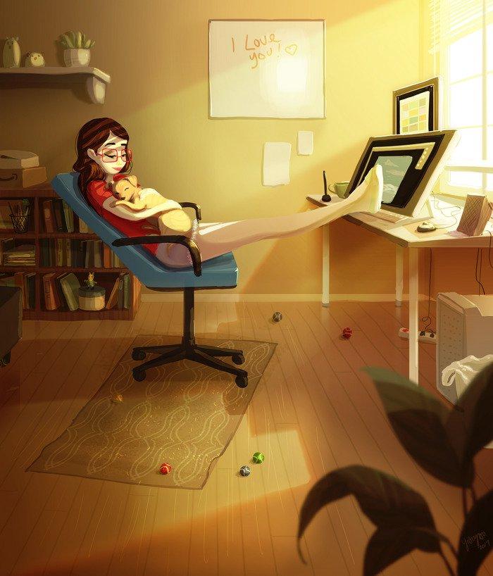 Yaoyao Ma Van As ilustraciones felicidad vivir sola 23