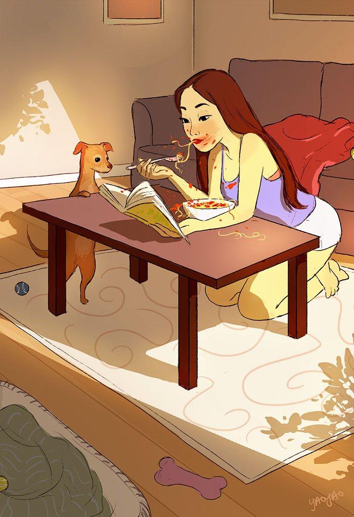 Yaoyao Ma Van As ilustraciones felicidad vivir sola veintiseis