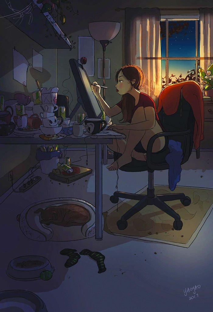 Yaoyao Ma Van As ilustraciones felicidad vivir sola 13