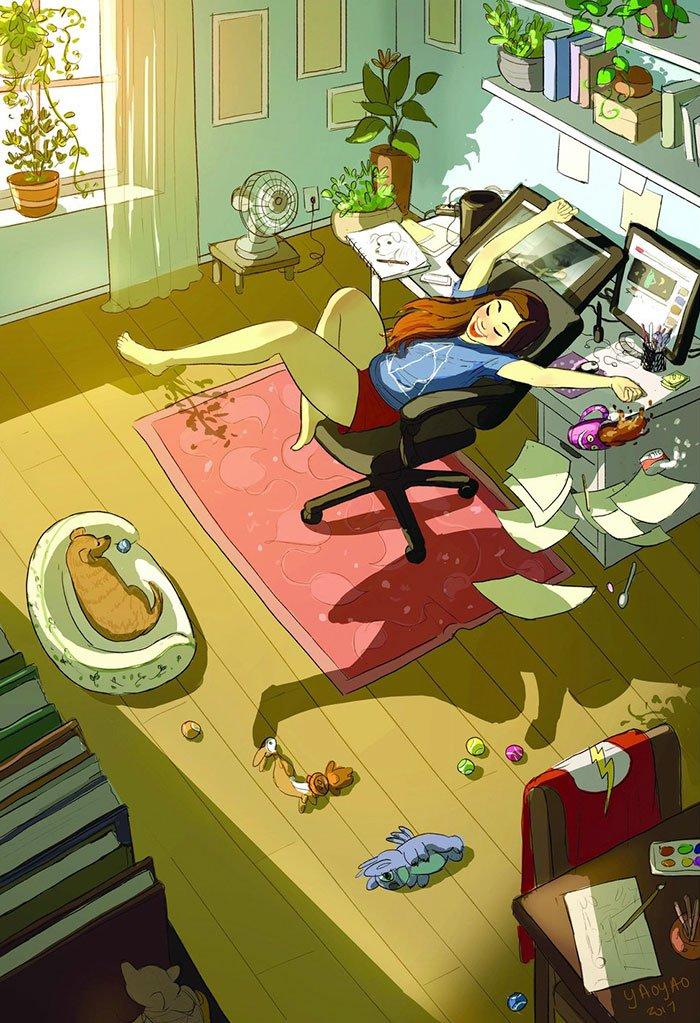 Yaoyao Ma Van As ilustraciones dicha vivir sola 17