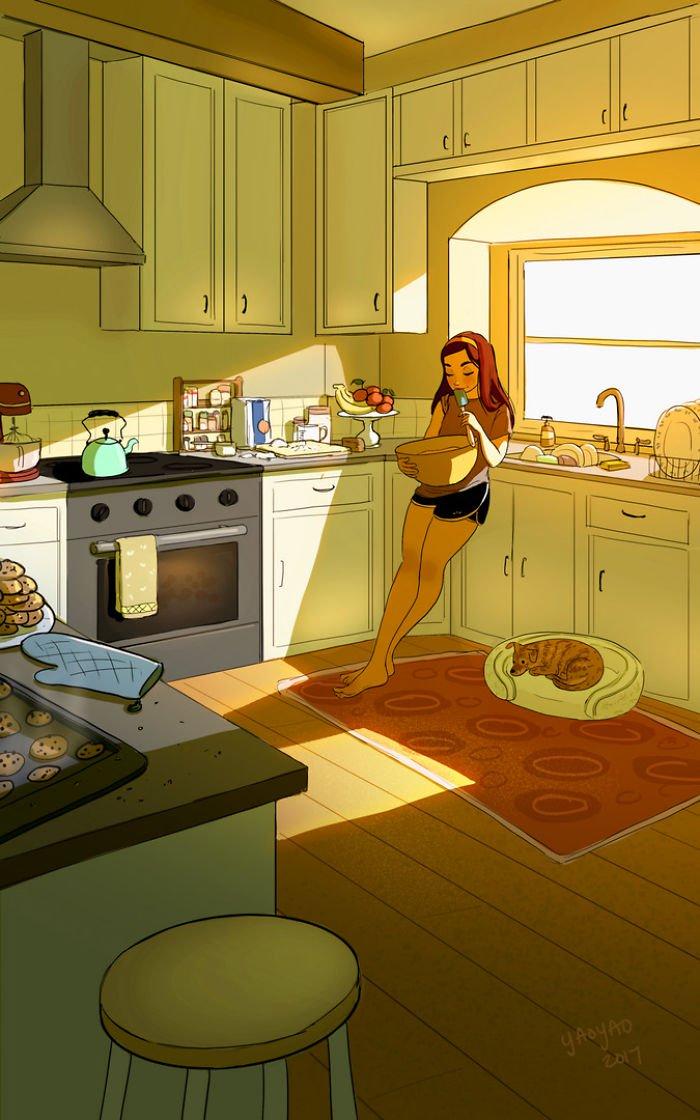 Yaoyao Ma Van As ilustraciones felicidad vivir sola 21